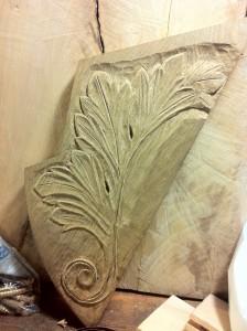 Acanthus leaf carving